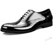 Mens Real Patent Leather Dress Shoes Brogues Wing tip Wedding Formal Shoes