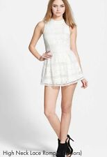 NWT NEW ASTR NORDSTROM Juniors Ivory Lace Cotton Blend High Neck Romper Size L
