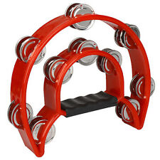 Hand Held Tambourine Double Row Metal Jingles Percussion Red DT