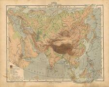 Carta geografica antica ASIA ALTEZZE e PROFONDITA' 1897 Old antique map