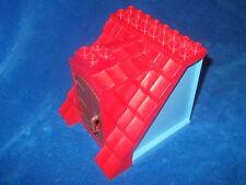 Lego Duplo Puppenhaus Haus 1 X Dachteil Dach rot Tür Braun Seitenwände Hellblau