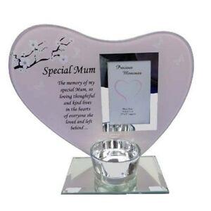Special Mum Poem Glass Photo Frame Memorial Tea Light Candle Holder Plaque