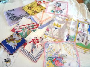 Fabulous Lot Of 11 Vintage Print Childrens Hankies - Mickey, Miss Muffet +++