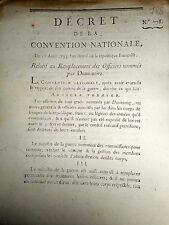 788 DÉCRET CONVENTION NATIONALE 1793 REMPLACEMENT OFFICIERS NOMMÈS PAR DUMOURIEZ