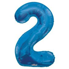 """Large Jumbo Blue Metallic Number 2 Foil Helium Balloon 34""""/87cm (Not Inflated)"""