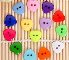 100pcs Heart Shape Resin Kid's Sewing Scrapbooking Buttons Exquisite 15mm Button