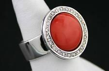 Anello Corallo rosso Brillanti 0,24 ct 585 oro bianco 15,7 Grammi (30427)