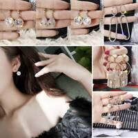 Charm Crystal Round Tassel Earrings Drop Dangle Women Wedding Jewelry Gift AU