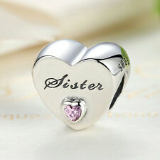 Authentic S925 Sterling Silver Sister's Love Pink CZ Heart Charm fit Bracelet