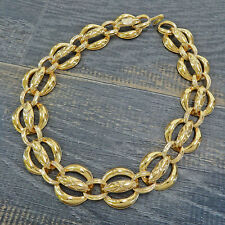 CHANEL Gold Plated CC Vintage Chain Necklace Choker #5752a Rise-on