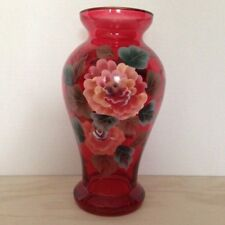 "HAND PAINTED RUBY FLOWER VASE Home Office Decoration Home Decor 9"" high 34785"