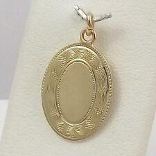 14K Yellow Gold Art Deco Hand Engraved Signet Oval Disc Charm Pendant 2.3gr