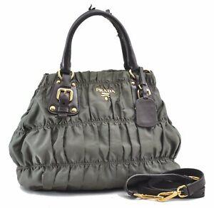 Auth PRADA Tessuto Gaufre Nylon Leather 2Way Shoulder Hand Bag Khaki Green D4659