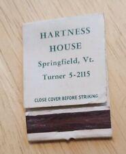 Vintage Matchbook Hartness House Springfield Vermont Wheeler Williams Rutland VT