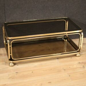Coffee Table IN Metal With Wheels 2 Shelves Glass Furniture Years 80
