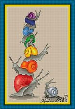 IRIDESCENT SNAILS Counted Cross Stitch Chart Needlework Craft Pattern PDF