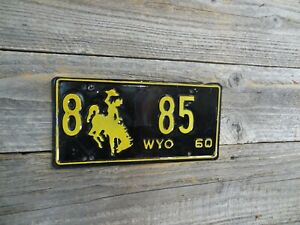 1960 Wyoming Cowboy Bucking Horse low number license plate all Original license!