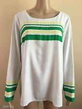 MERONA SIZE Large WOMEN'S STRIPED White Green LONG SLEEVE ROUND NECK Blouse TOP