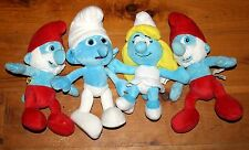 lot of 4 Plush SMURF Toys Papa Smurf Smurfette Clumsy Kelly Toys Build A Bear
