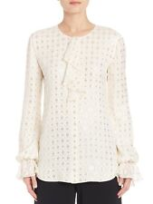 ST. JOHN Metallic Gold Print Ruffle White Button Down Blouse Victorian $1,195 10