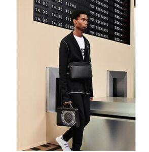 FENDI Roma Calfskin Leather Bag | Black |  Messenger Camera Strap Big Bugs Eyes