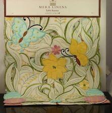 """Flower Butterfly Easter Egg Table Runner MERA LINENS 13"""" x 72"""" NWT"""