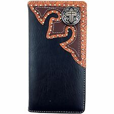 Premium Western Cowboys Mens Wallet Black Leather Cross Carved Design