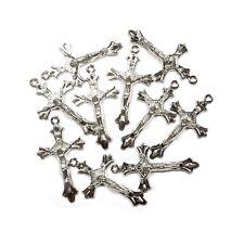 Silver Rhodium Crucifix 43mm MM01 - Bulk Pack Of 10
