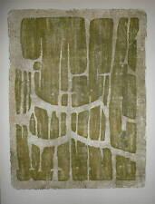 Serge Rezvani Gravure sur bois Originale Signée 1958 abstraction art abstrait