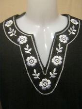 CATHY DANIELS Tunic MediumTop,Embroidered Black & White Headliners NEW $44