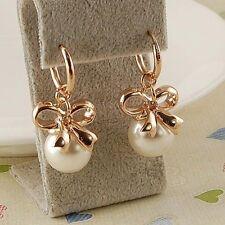 18K GP Rose Gold Plated Bowknot White Shell Pearl Fashion Dangling Earring E302