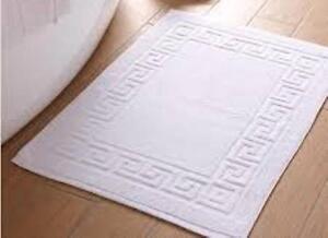 HOTEL QUALITY SOFTWHITE BATH MATS 100% COTTON GREEK KEY DESIGN 700GSM 12 Pack