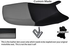 GREY & BLACK CUSTOM FITS SUZUKI GS 500 01-09 DUAL REAL LEATHER SEAT COVER