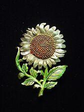 """JJ"" Jonette Jewelry Antique Gold Pewter 'Beautiful Big SUNFLOWER' Pin"