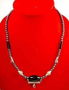 Black Leklai Namphee Necklace Thai Amulet Gem stone Protect Mala Beads 3 hooks