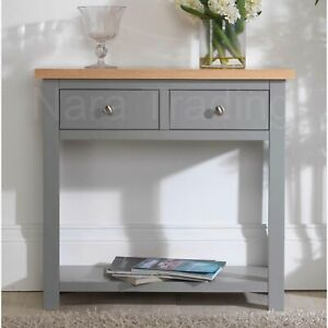 Richmond console table grey painted furniture with solid oak top