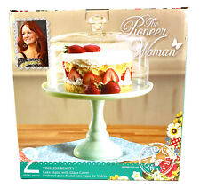 """The Pioneer Woman 2 Piece 10"""" Timeless Beauty Jade Cake Stand w/Glass Cover"""