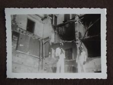 U.S. Sailors Standing In Front Of Bombed Out Building Vtg 1940's Ww2 Photo