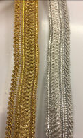 UNIQUE  2CM WIDE Ribbon Vintage EMBROIDERED GLITTER per meter