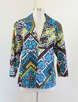 Chico's Blue Colorful Mosaic Geometric Print Jacket Blazer Chicos Size 2