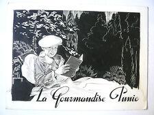 """Obrad Nicolitch Dessin original signé """"La Gourmandise punie"""" Pub Enfant Lecture"""