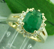 14k Solid Yellow gold Natural Oval Emerald Diamond  Ring 3.16 ct  Size 5 to 8