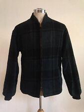 Cool Vintage 1960's Green Blue Plaid Wool Jacket Men'S Size 38 Small Talon Zip!