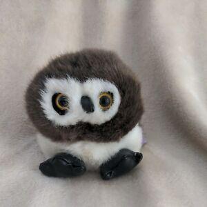 Vintage Puffkins Olley owl gray white 4.5 inch plush stuffed animal born 7/7/97