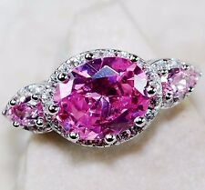 3CT Pink Sapphire & Topaz 925 Solid Sterling Silver Ring Jewelry Sz 7, T7-3