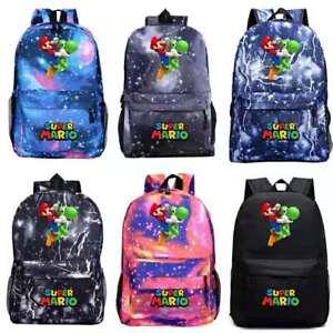 Super Mario Print School Bag Backpack Rucksack Travel Bag Handbags Kids Gift