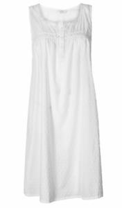 EX M&S WHITE PURE COTTON DOBBY SHORT NIGHTDRESS NEW