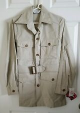 VTG Woolrich Sports Wear Safari Shooting Shirt Jacket Mackinaw Pocket Belt NWT S