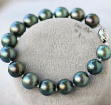 Stunning AAA 7.5-8inch 10-11mm South Sea Black Pearl Bracelet 925 Silver Clasp