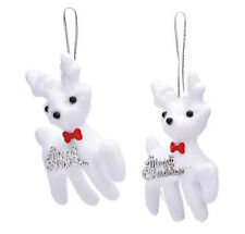 HOLIDAY CHRISTMAS TREE DECORATIONS PAIR OF FUZZY WHITE REINDEER